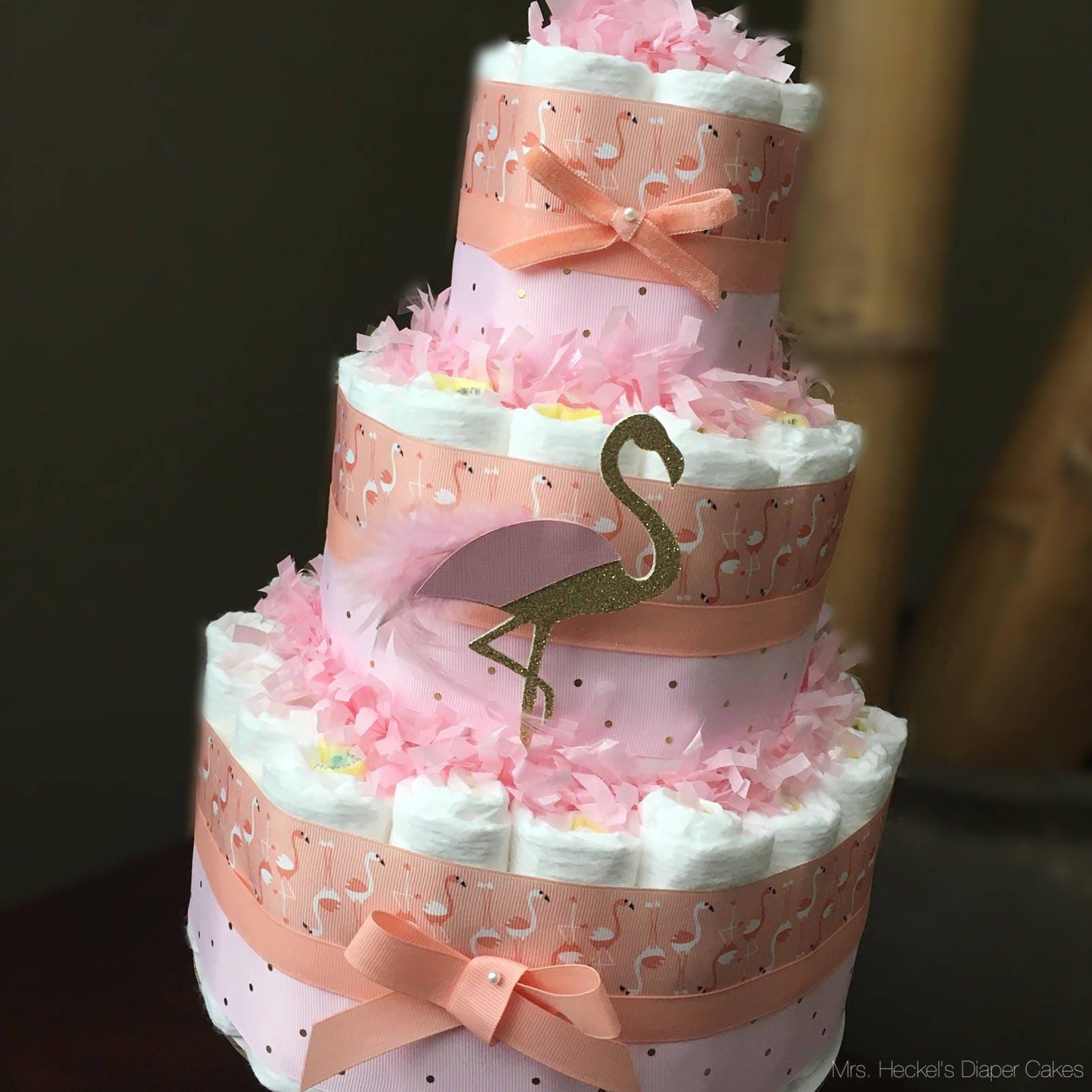 Pink and Blush Flamingo Diaper Cake. Tropical Flamingo Baby   Etsy
