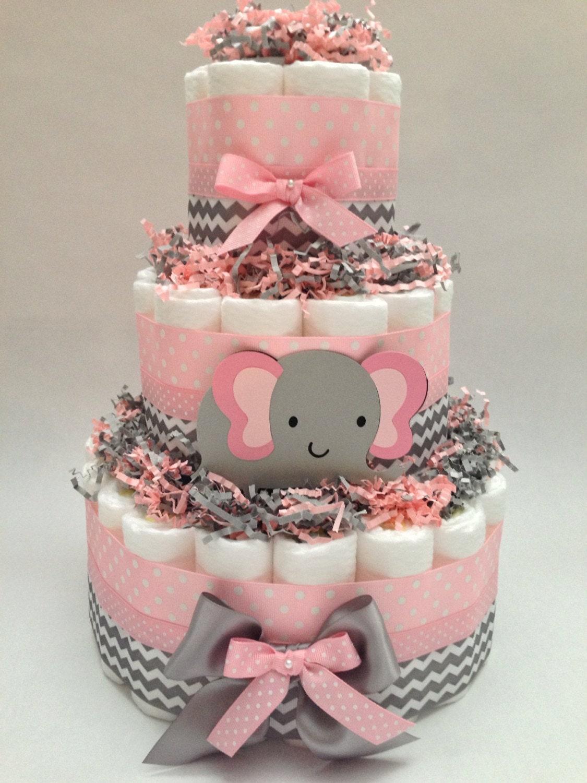Chevron Elephant Diaper Cake Diaper Cake Diaper Cakes | Etsy