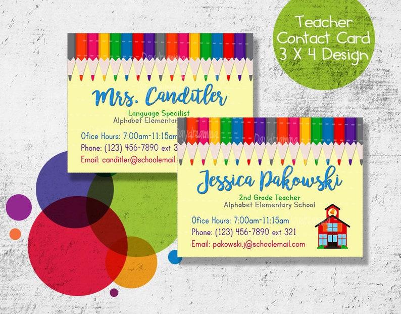 0120c1eaaac33 Pencils Teacher Contact Cards - Printable