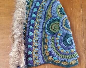 OOAK Freeform Crochet Reversible Hood