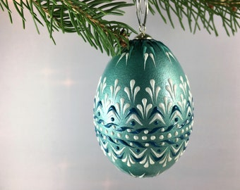 christmas ornament snowflakes and stars duck egg ornament wax embossed pysanka polish drop pull pysanky - Duck Egg Blue Christmas Decorations