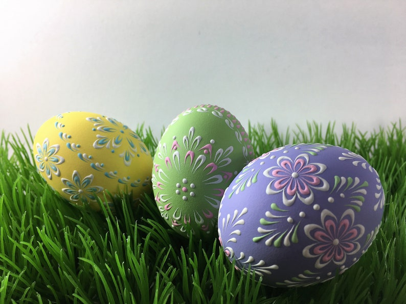 Polish Easter Eggs Set Of 3 Hand Decorated Chicken Eggs Etsy