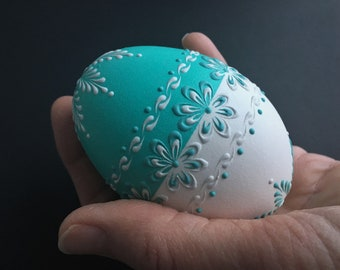 Goose Egg Pysanka, Wax Embossed Drop-Pull Method Decorated Egg, Polish Pysanky, Easter Egg