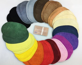 """Hamag™  Hand punched Suede Leather Elbow Knee Patches - 16 Colours Available 