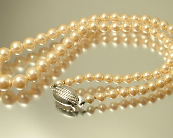 Vintage 1960s good quality real cultured pearl necklace with sterling silver clasp - jewellery jewelry