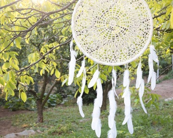 Extra Large Dream Catcher for Wedding or Nursery Decor - Bohemian Decoration with Feathers, Tribal Decor, Crochet Dreamcatcher