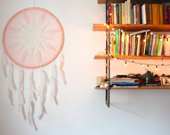 Extra Large Dream Catcher for Wedding or Nursery Decor - Bohemian Decoration with Feathers and Transitional Crochet - Giant Dreamcatcher
