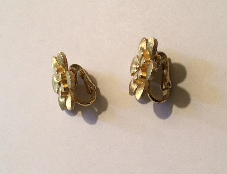 Trifari Flower Clip on Earrings Crown Trifari