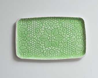 green lace ceramic tray platter for appetizers antipasti bruschetta cheese sandwiches