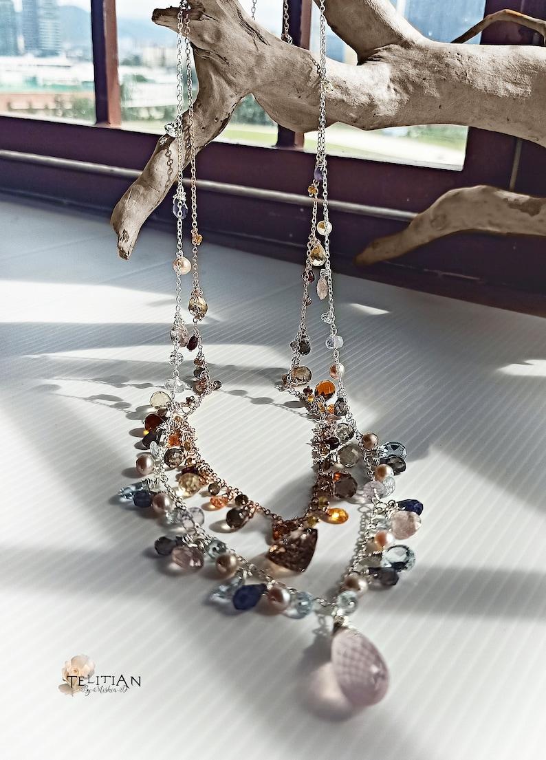Sterling Silver 925 Rose quartz pendant cluster necklace with Sky Blue Topaz Lavender Quartz and Saltwater pearls