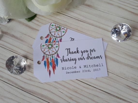 DreamCatcher Wedding Favor Tags Boho Wedding Thank You Tags Etsy Unique Dream Catcher Wedding Favors
