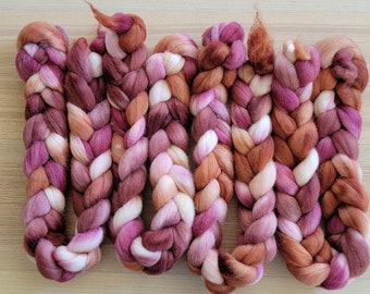 Hand Dyed Falkland Combed Top 27 Micron