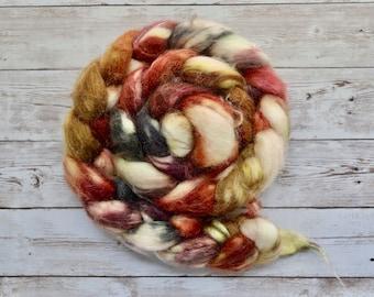 Hand Dyed Superwash Merino/Silk Spinning Fiber 4oz