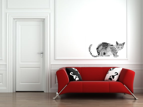 modern cat wall sticker / wall decal wall sticker / black and | etsy