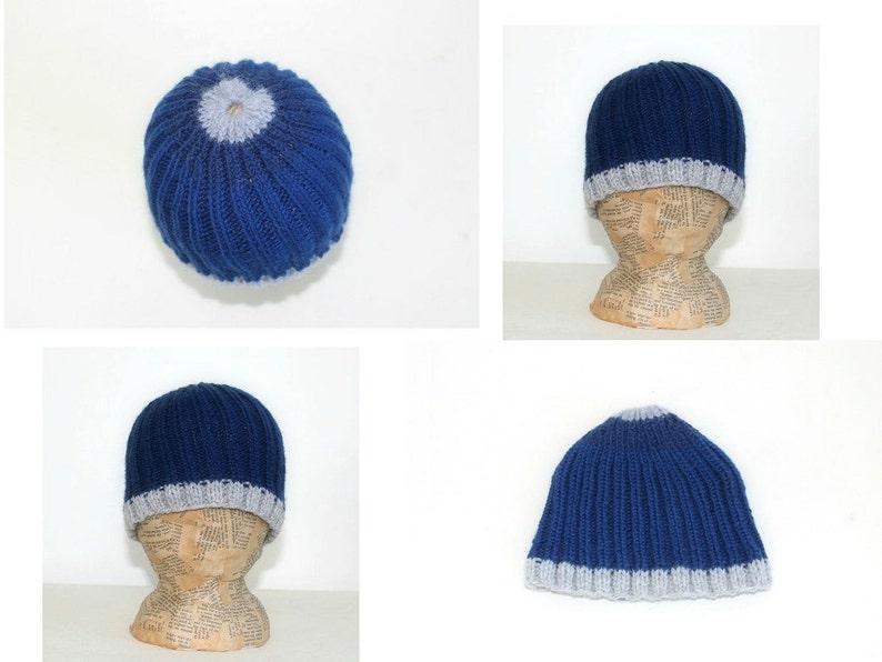 0881975ea Handmade Baby Boy Hat Unique Hand Knitted hat Winter knit Wool hat Beanie  Head wear Blue hat