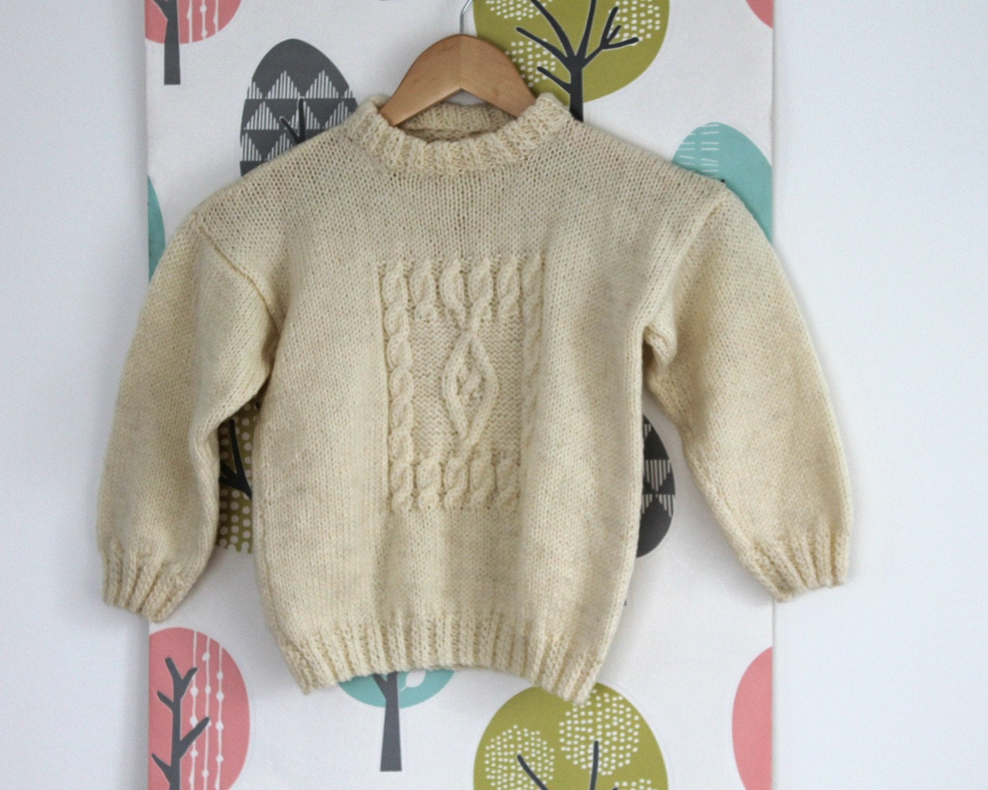 Cable de suéter cardigan de lana tejido a mano de punto suéter | Etsy