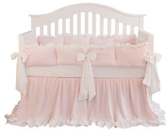 bccbe3b9f Coral Pink White Ruffle Bumper Baby Crib Bedding Set Big Bows. Washed  Cotton Blanket Nursery Bedding. Baby Girls Crib Skirts Crib Sheet