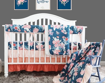 49daa9fe6 Navy Coral Floral Ruffle Baby Crib Bedding Set. Minky Blanket Ruffle Skirt Nursery  Bedding. Baby Crib Rail Cover Crib Sheet