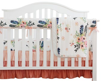 3dabe2b32 Coral Peach Feather Floral Ruffle Baby Crib Bedding Set. Minky Blanket  Ruffle Skirt Nursery Bedding. Baby Crib Rail Cover Crib Sheet