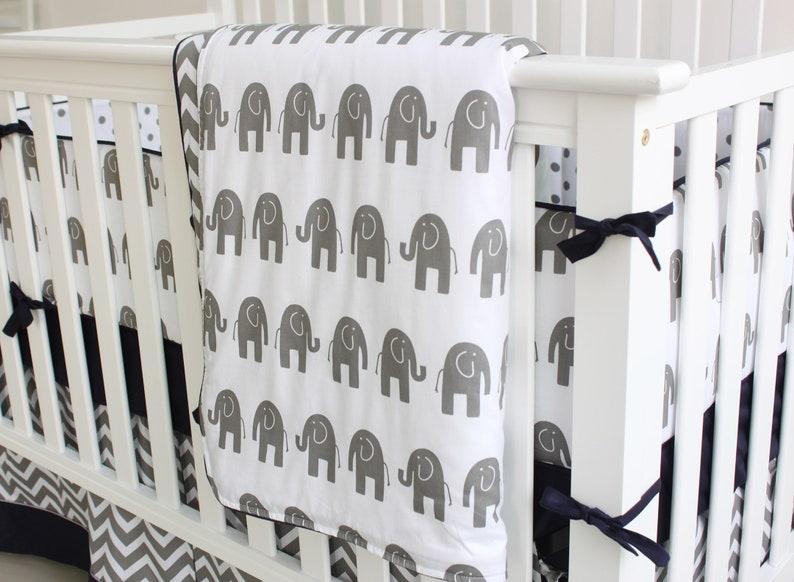 Grey /& Blue Elephant Crib Bedding Set Baby Crib Bedding Nursery Bedding Crib Sheet Baby Bumpers