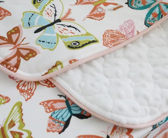 Corail Peche Papillon Volant Floral Literie Lit Bebe Ensemble