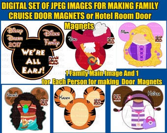 Digital Set Family Cruise Door Magnets DIY Cruise Door Magnets – Family Door Magnets Mouse Ears Disney Mickey Ears Personalized Door Magnets