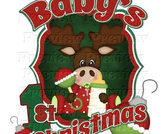 Printable Baby's First Christmas Moose Shirt Transfer or Ornament Baby's 1st Christmas Ornament Baby Moose Shirt Baby Boy's 1st Christmas