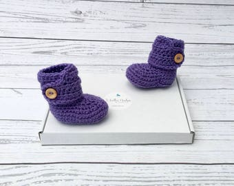 purple crochet baby booties | baby girl bootees | crocheted baby shoes | purple baby button boots | baby shower gift