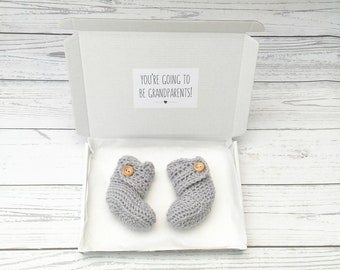 grandparents pregnancy reveal, baby announcement, you're going to be grandparents, crochet baby booties, grey baby boots, newborn shoes