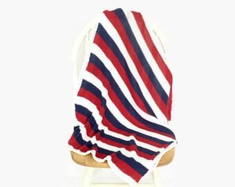 stroller blanket | striped blanket | red white blue blanket | baby boy blanket | car seat blanket | crib blanket |  baby shower