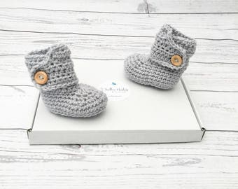 baby booties, crochet baby shoes, unisex baby bootees, grey baby booties, newborn boots, baby shower gift