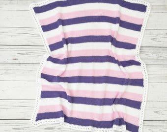 pink purple baby blanket | baby girl blanket | knit baby blanket | baby shower gift | new baby gift | crib afghan