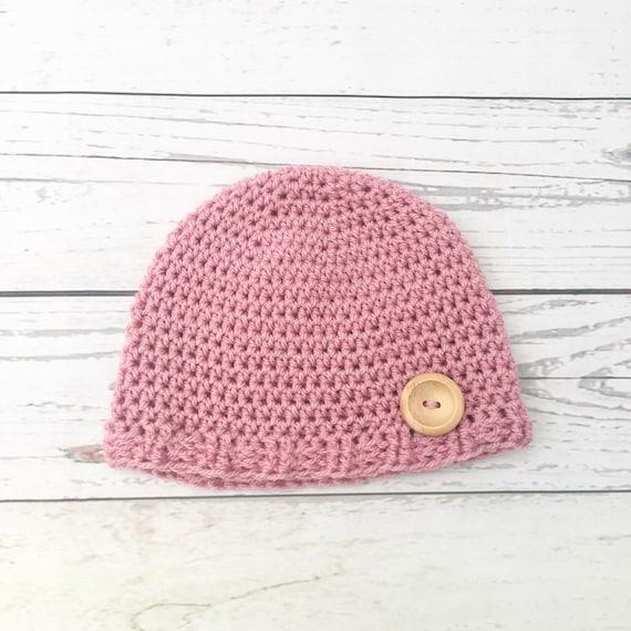 6e0b4babd9b Crochet pink baby hat baby girl hat newborn hat handmade