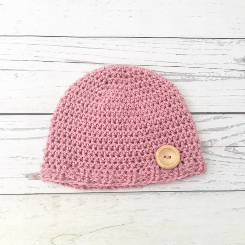eb02e47a124 Crochet pink baby hat baby girl hat newborn hat handmade