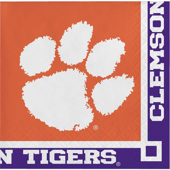 40ct Clemson University Tigers 2-ply Beverage Napkins Party college football