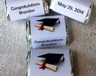 120 GRADUATION THEMED personalized candy wrappers, adhesive stickers, labels for your Hershey nuggets. Make great party favors!