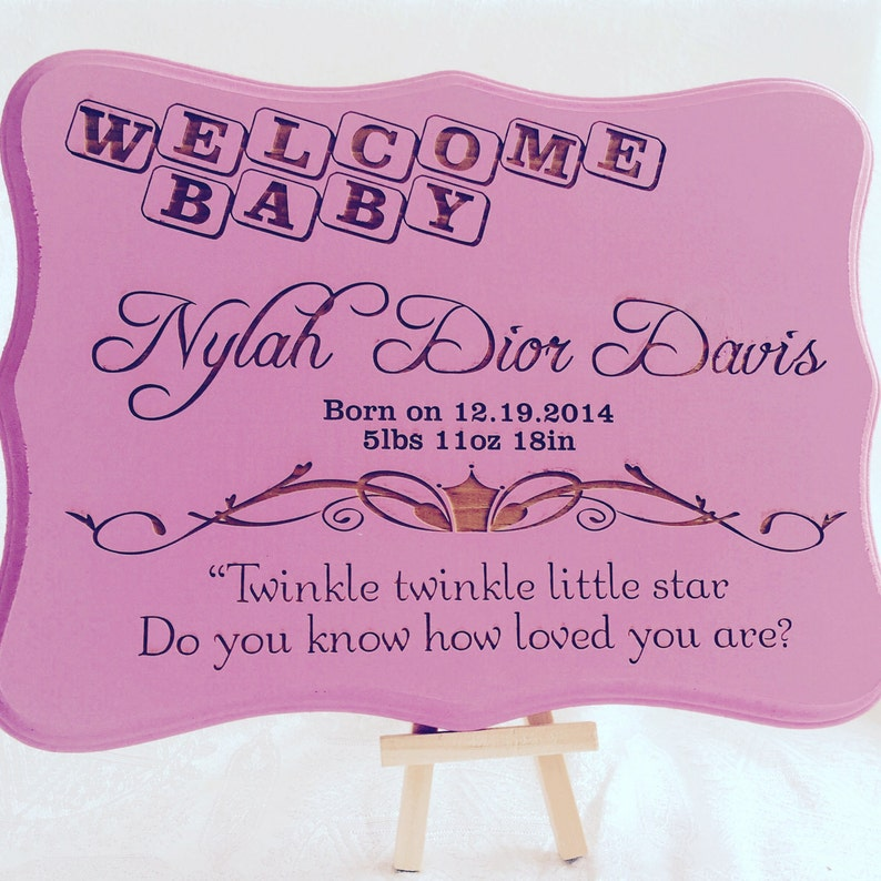 Large Personalized Wood SignPlaque for new mom as baby gift boy or girl shower Classy /& elegant gift you can give a new mom