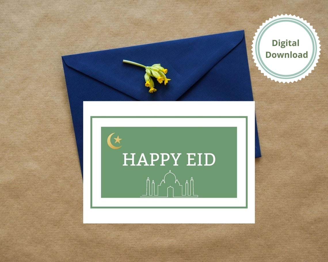 happy eid greeting card printable instant download pdf and