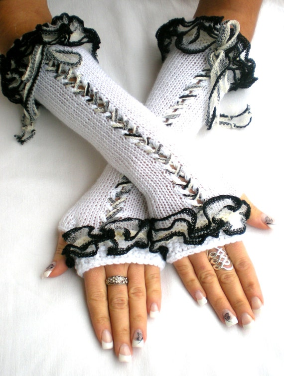 Items similar to Fingerless gloves, Corset gloves, Arm warmers, white acrylic