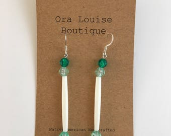 Greeb light green bone bead earrings