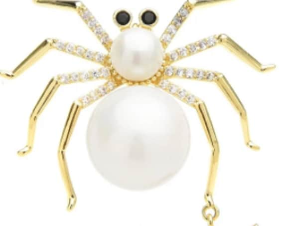 Gorgeous Pearl and CZ Mommy and Baby Spider Brooch