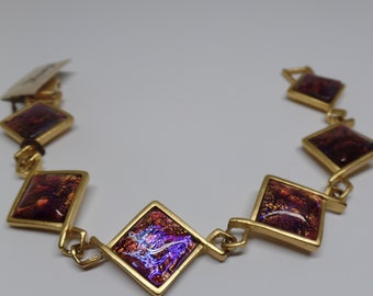 21df15d63fe CLEARANCE YSL Yves Saint Laurent Signed Dichroic Glass Bracelet with  Original Tag!