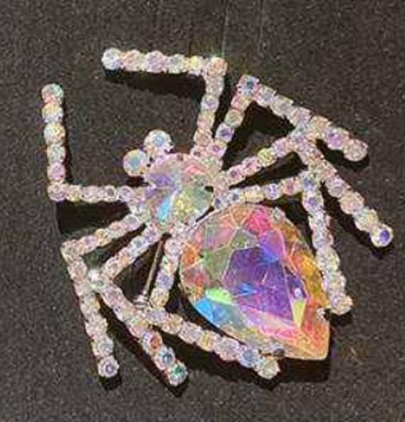 Spectaular Aurora Borealis Crystal Spider Brooch