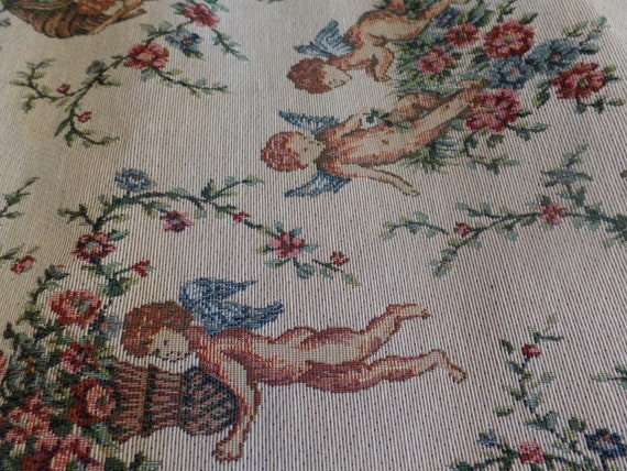 """Fabulous Vintage Angel Tapestry 72""""  Table Runner-New Old Stock-Original Tag"""