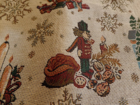 """Fabulous Vintage Holliday Tapestry 20"""" Table Runner-New Old Stock"""