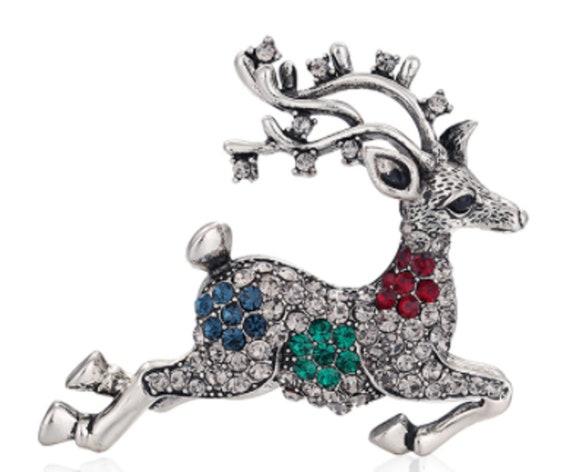 Lovely Multi Crystal Reindeer Holiday Winter Brooch