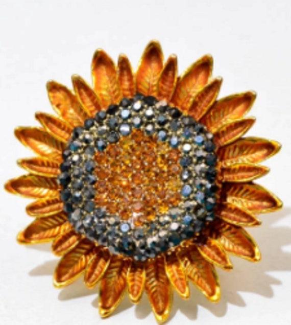 Gorgeous Crystal Sunflower Brooch Pendant