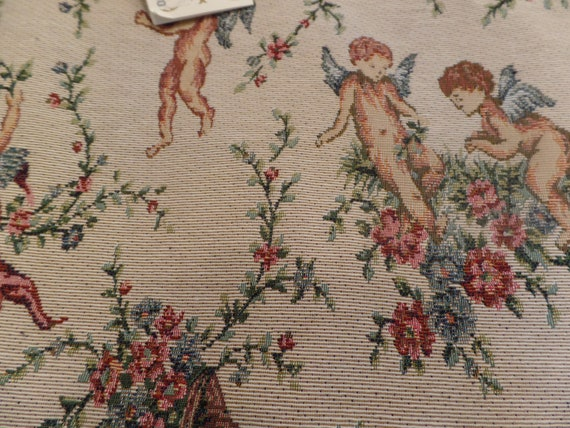 """Fabulous Vintage Angel Tapestry 54""""  Table Runner-New Old Stock-Original Tag"""