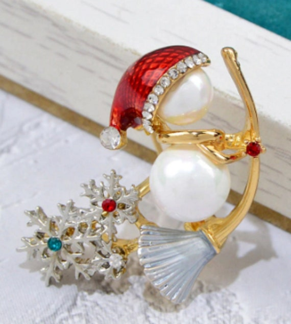 Adorable Pearl and Crystal Snowman with Broom Holiday Brooch!