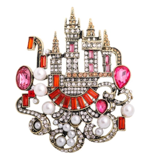 Exquisite Pink and Red Crystal & Pearl Castle Brooch Pendant!